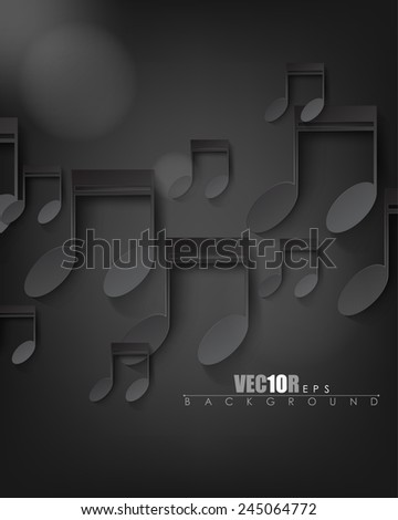 overlapping black music notes elements on dark background eps10 vector - stock vector