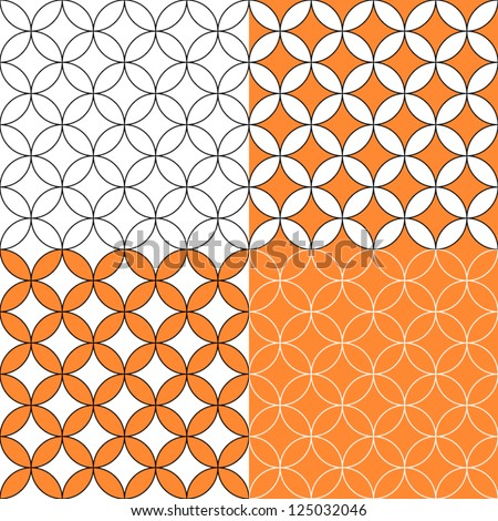 Overlapping circles seamless pattern, four colors set, vector - stock vector