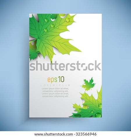 overlapping green leaves with dew drops  - stock vector