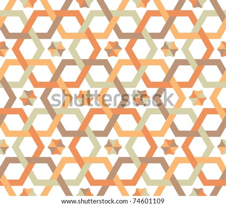 Overlapping hexagons - seamless pattern - stock vector