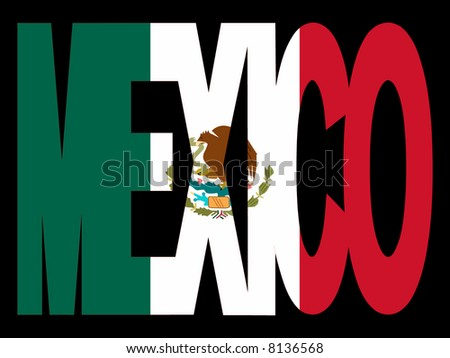 overlapping Mexico text with Mexican flag