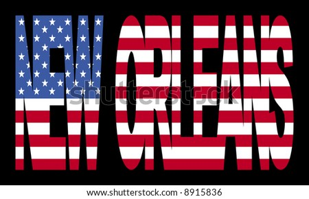 overlapping New Orleans text with American flag illustration - stock vector