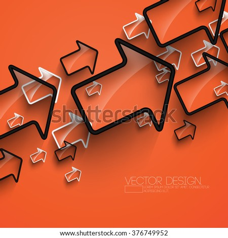 overlapping outlined arrow background design - stock vector
