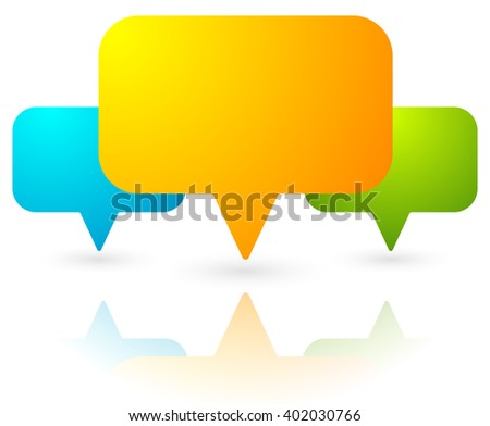Overlapping speech bubbles / map markers. Colorful icon for communication, support, stores, shops locations - stock vector