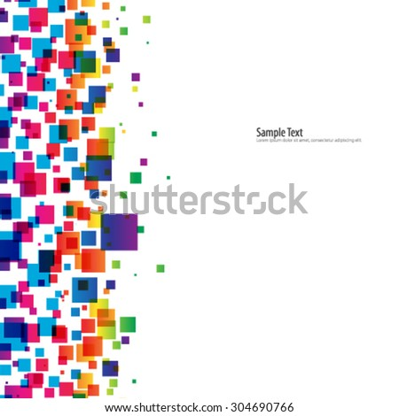 Overlapping Squares with Pixelated Effect Background - stock vector