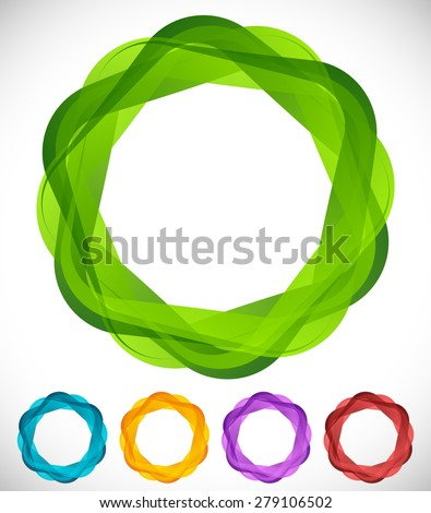 Overlapping squares with rounded corners and transparency. - stock vector