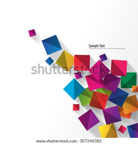 Overlapping Squares with Shadows Clean Background - stock vector