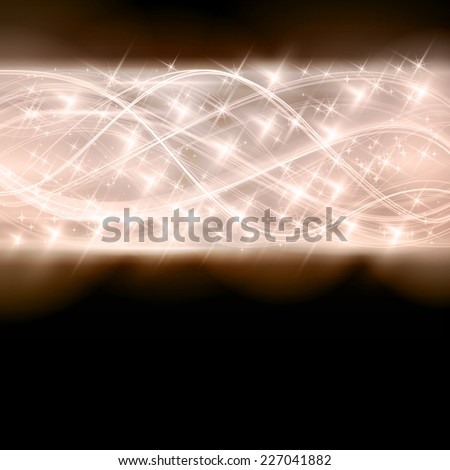 Overlaying semitransparent curved lines forming an abstract wavy pattern with light effects and stars border in shades of silver and blue on dark background. Space for your text. - stock vector