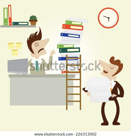 Overload business man with pile stack of paper and folder and the boss bring more work.Vector cartoon design. - stock vector
