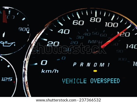 Overspeed warning light on dashboard with dial at 120 - stock vector