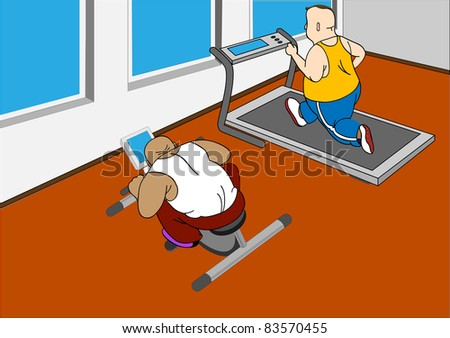 Overweight men running on a treadmill and  on  bike - stock vector