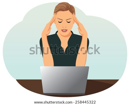 Overworked business woman is under stress with headache - stock vector