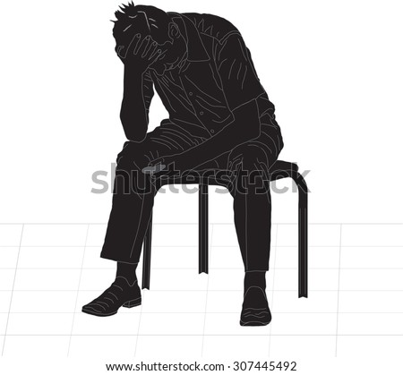 Overworked businessman is under stress with headache vector silhouette illustration. Worried man, vector illustration isolated on white background. - stock vector