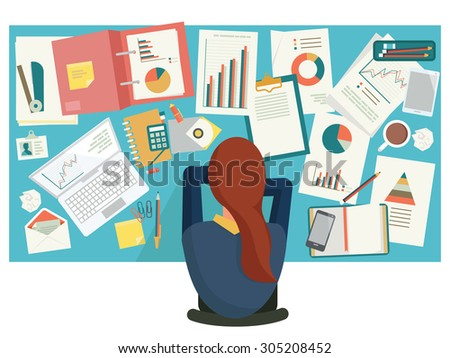 Overworked businesswoman taking a snap on desk at workplace, in office. Flat design.  - stock vector