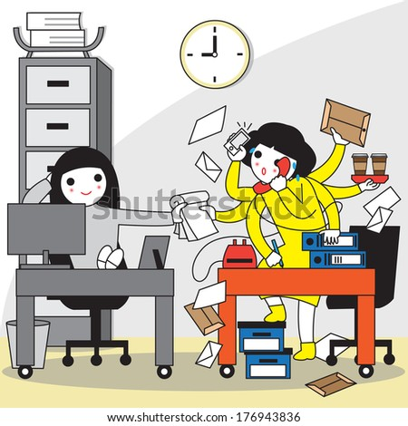 Overworked, Office Syndrome illustration - stock vector