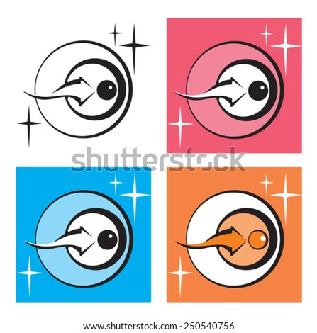 Ovule and sperm. Icon. Vector. 2 Stylized fertilization process. Four color options. Graphic element. Logo. - stock vector