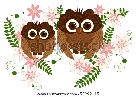 owl and flower - stock vector