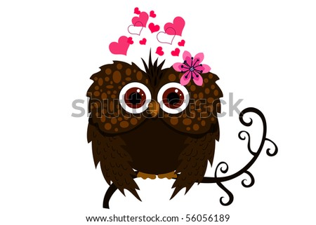 owl and love - stock vector