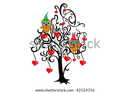 owl and love tree - stock vector