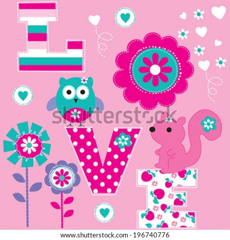 owl and squirrel love card vector illustration - stock vector