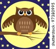 Owl at Night. Vector illustration - stock