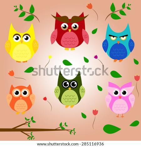 owl branch cartoon set animal character vector design - stock vector