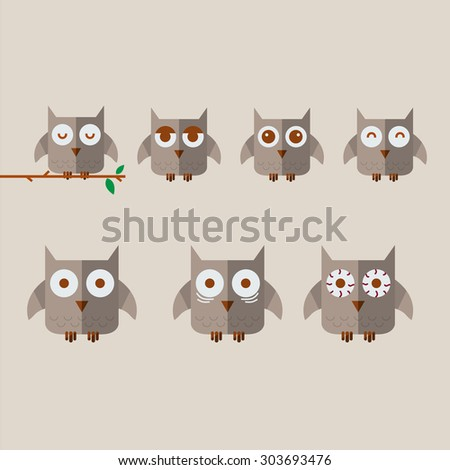 owl character. wake concept  - vector illustration - stock vector