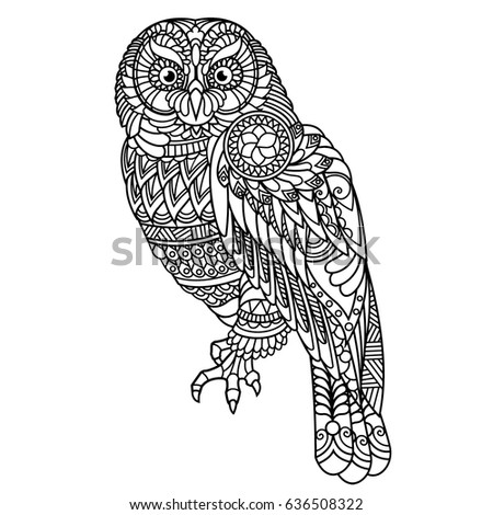 Owl Coloring Book Adults Stock Vector (2018) 636508322 - Shutterstock