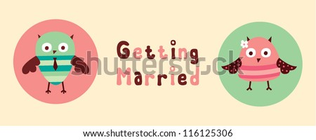owl couple getting married - stock vector