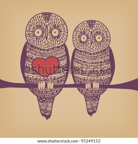 owl couple in love on tree branch with big heart on old paper - stock vector