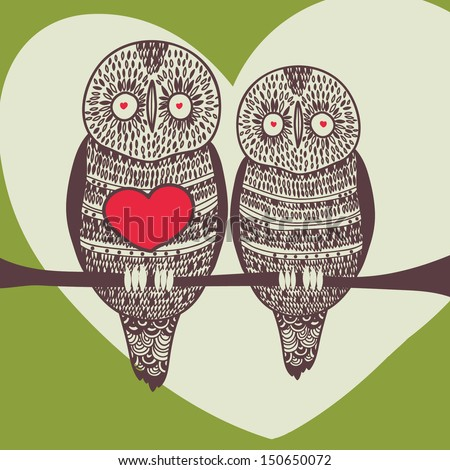 owl couple in love on tree with heart - stock vector