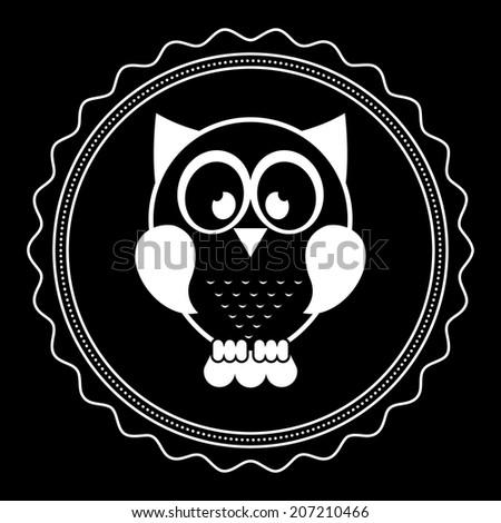 owl design over black background vector illustration - stock vector