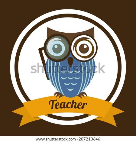 owl design over brown background vector illustration - stock vector