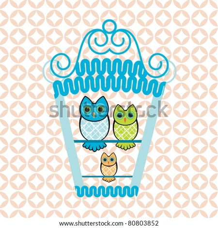 Owl family perched in birdhouse (new baby - family concept) - stock vector