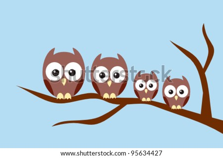 Owl family sitting on a tree branch - stock vector