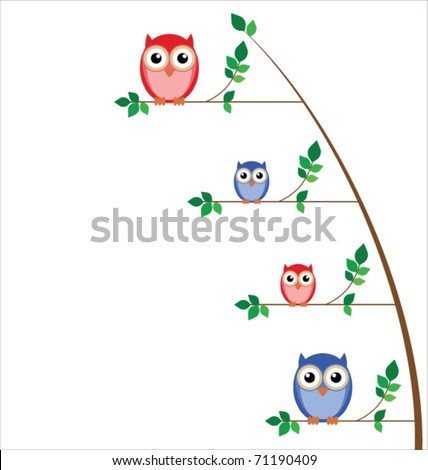 Owl family tree isolated on white background - stock vector