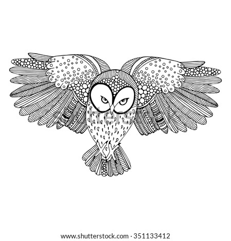 owl flying black and white drawing