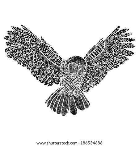 owl flying black and white drawing vectorized