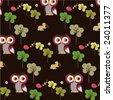 owl forest wallpaper - stock vector