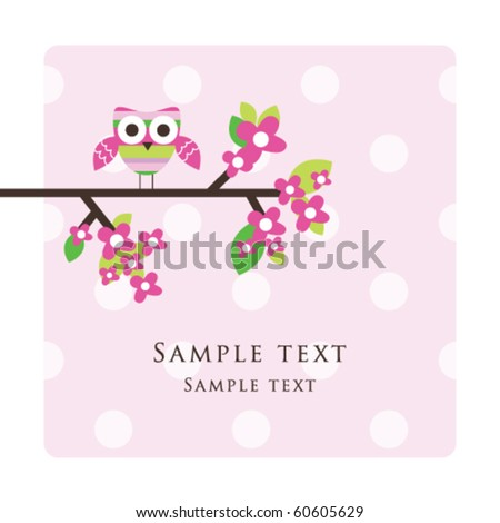 Owl - Greeting card with copy space - stock vector