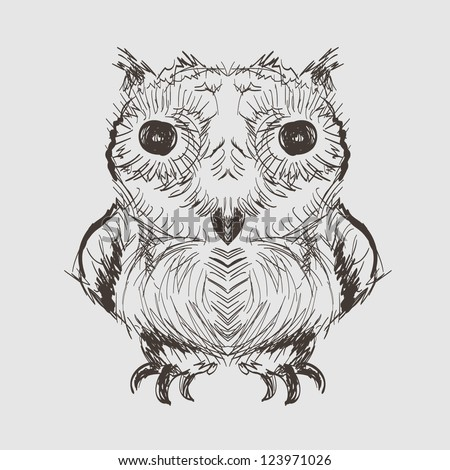 Owl Hand Drawn Sketch - stock vector