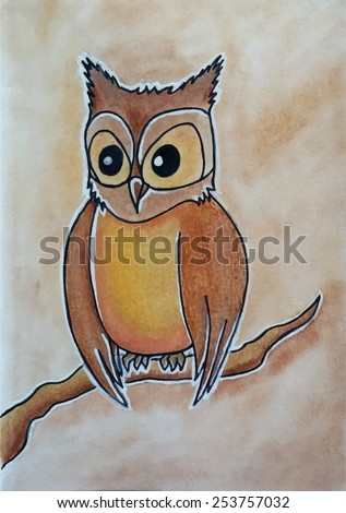 owl hand drawn vector illustration - stock vector