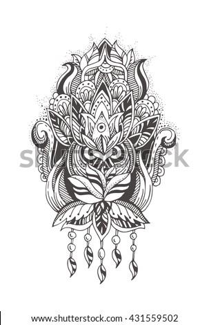 ethnic floral zentangle doodle background pattern stock vector 405373321 shutterstock. Black Bedroom Furniture Sets. Home Design Ideas