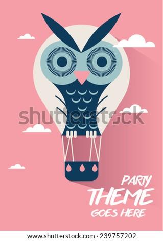 Owl hot air balloon vector/ illustration / Baby shower poster/ design/ music festival poster - stock vector