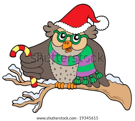 Owl in christmas outfit - vector illustration.