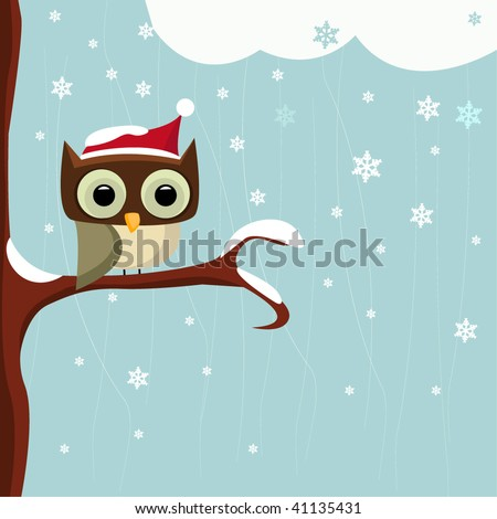 Owl in the Winter Day - stock vector