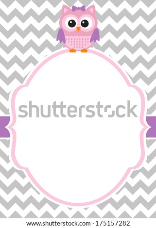 Owl Invitation Card Template Stock Photo Photo Vector