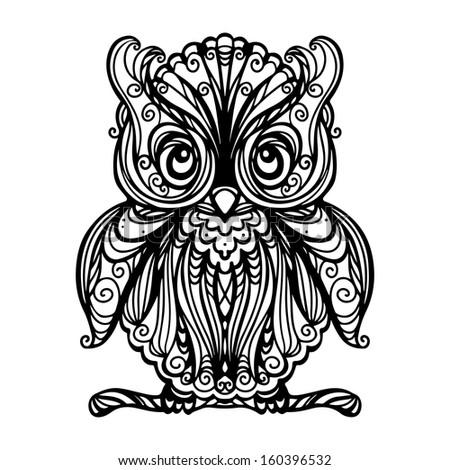 owl isolated black white vector stock vector 160396532