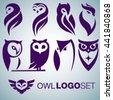 owl logo set