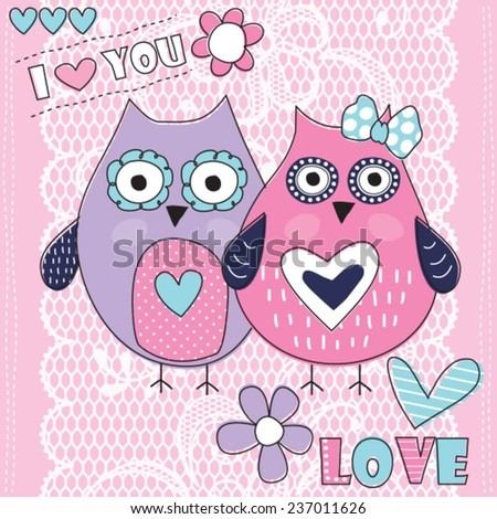 owl love with lace background vector illustration - stock vector